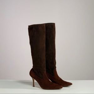 Two tone brown suede pointed tall heeled boots